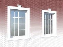 在砖墙的两个窗口 免版税库存图片