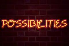 在砖墙背景的可能性霓虹灯广告 在砖砌企业概念的萤光氖灯标志不可能的选择的C 库存图片