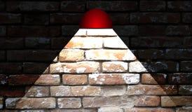 在砖墙背景的抽象红色灯 免版税库存图片