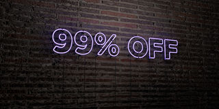 99% -在砖墙背景的现实霓虹灯广告- 3D回报了皇族自由储蓄图象 免版税库存图片