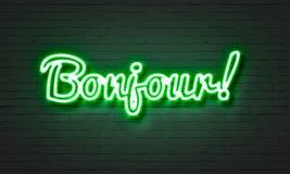 在砖墙背景的Bojour霓虹灯广告 库存图片