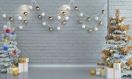 在砖白色墙壁背景的圣诞树 免版税库存照片
