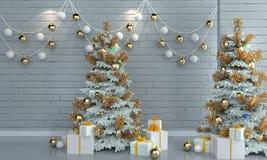 在砖白色墙壁背景的圣诞树 库存图片