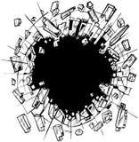 在破碎玻璃传染媒介剪贴美术的孔 库存例证