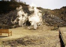 在硫质喷气孔附近的硫磺春天 免版税库存图片