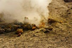 在硫质喷气孔附近的硫磺春天 库存图片
