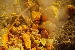 在硫质喷气孔附近的硫磺春天 库存照片