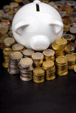 在硬币后的白色存钱罐在黑暗的设置 库存图片
