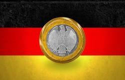 在硬币的一面欧洲硬币旗子 库存图片