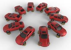 在硬币的汽车堆积圆列阵 图库摄影