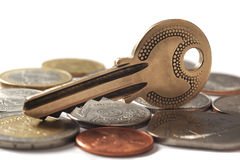在硬币的钥匙 库存图片