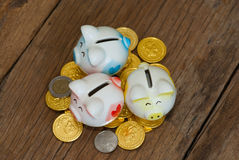 在硬币顶部的微存钱罐。金钱概念。 免版税库存照片