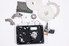 在硬盘里面的硬件零件 免版税图库摄影