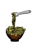 在碗和叉子的乱画面条 免版税库存图片