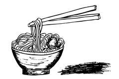 在碗和棍子的乱画面条 库存例证