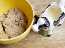 在碗和牛奶的被拼写的谷物 图库摄影