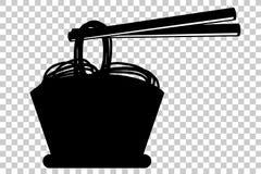 在碗和筷子的乱画面条 免版税库存图片