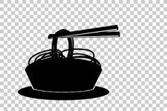 在碗和筷子的乱画面条 库存照片