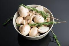 在碗的共同的蘑菇 免版税库存图片