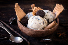 在碗的冰淇凌曲奇饼 免版税库存照片