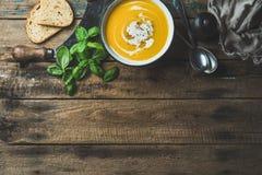 在碗的南瓜奶油色汤有新鲜的蓬蒿和香料的 库存照片