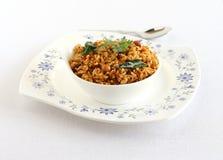 在碗的南部Puliyogare印地安传统素食米盘 免版税库存图片