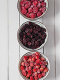 在碗的各种各样的结冰的莓果 免版税库存照片