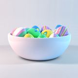 在碗的复活节彩蛋 图库摄影