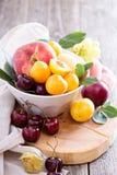 在碗的夏天果子 免版税库存照片