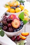 在碗的夏天果子 免版税图库摄影