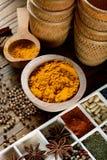 在碗的姜黄粉末 免版税库存照片