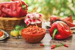 在碗的开胃Ajvar用胡椒 免版税库存图片