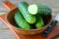 在碗的新鲜的可口黄瓜 免版税库存图片