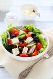 在碗的新鲜的希腊沙拉 免版税库存图片