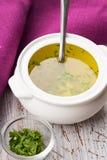 在碗的汤 免版税库存照片