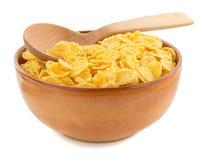 在碗的玉米片在白色 图库摄影