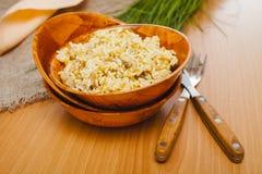 在碗的米肉饭 免版税库存照片