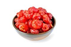 在碗的糖煮的樱桃 库存图片