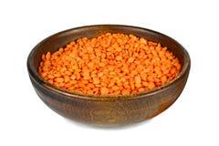 在碗的红色小扁豆豆 库存图片