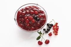 在碗的红色果冻 免版税库存图片