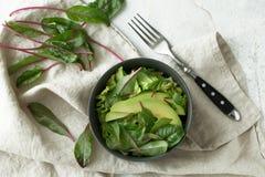 在碗的绿色素食主义者早餐膳食 干净吃,节食,素食主义者食物概念 免版税库存照片