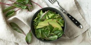 在碗的绿色素食主义者早餐膳食 干净吃,节食,素食主义者食物概念 免版税库存图片