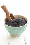在碗的罂粟种子 免版税库存照片
