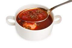 在碗的罗宋汤在汤碗的匙子 库存图片
