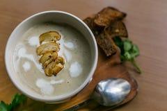在碗的自创蘑菇汤 免版税库存图片