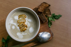 在碗的自创蘑菇汤 库存照片