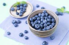 在碗的蓝莓 库存照片