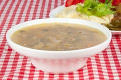 在碗的蘑菇汤 库存图片