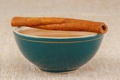 在碗的蜂蜜用桂香 库存图片