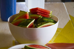 在碗的西瓜 免版税图库摄影